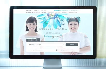 ハナユメウエディングデスク銀座店のモニター画面