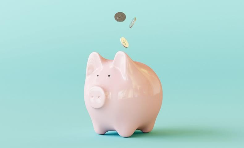 ピンクのブタの貯金箱とコイン